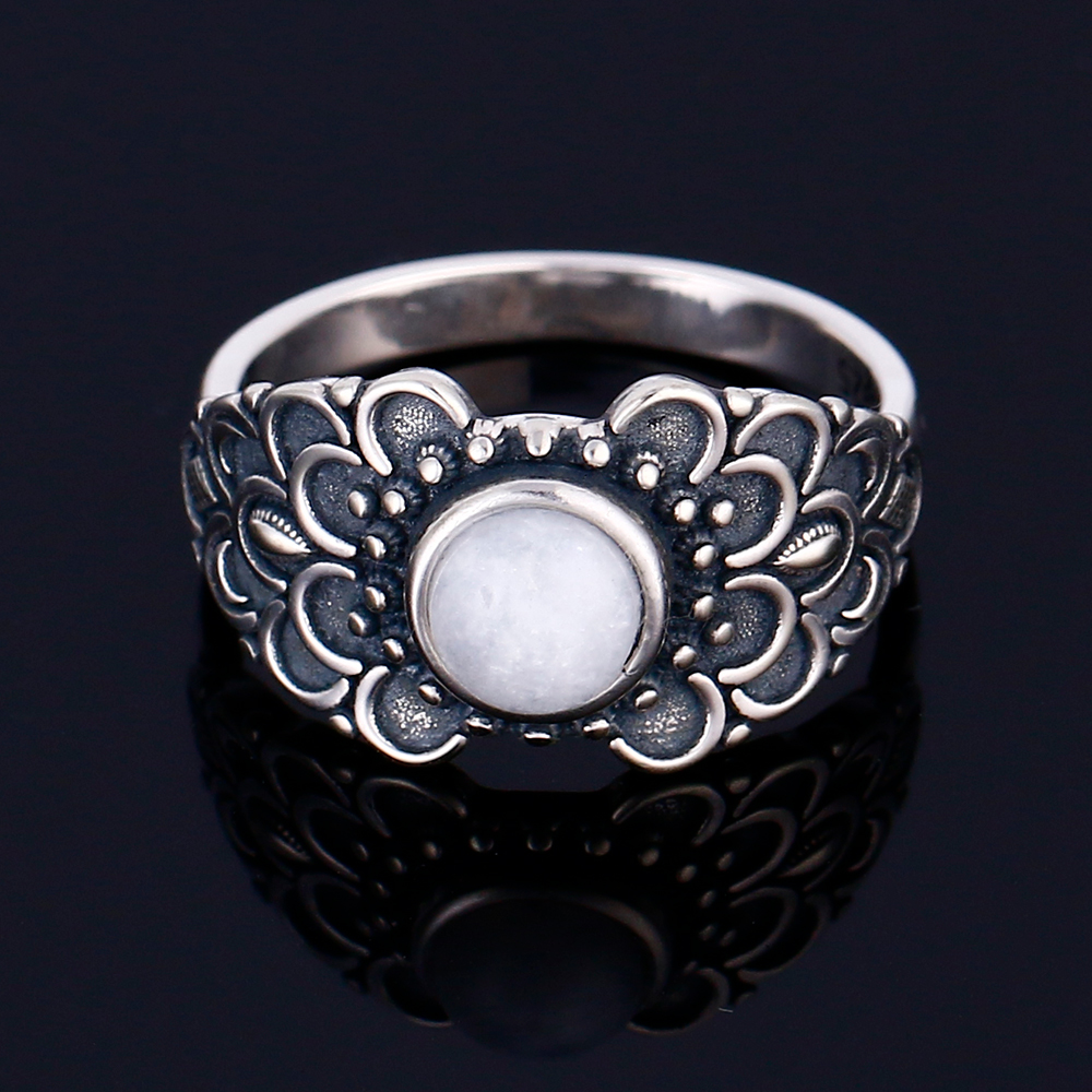 100% 925 Silver Ring Round 6MM Natural Moonstone Vintage Wreath Engagement Wedding Party Anniversary Wholesale