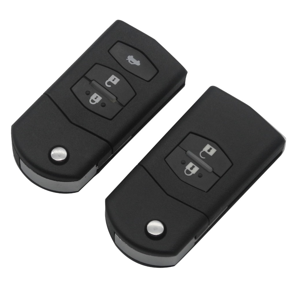 jingyuqin 2/3 Buttons Remote Car Key Shell for mazda 3 5 6 Key Fob Case Folding Flip Plastic Shell With Uncut Blade image