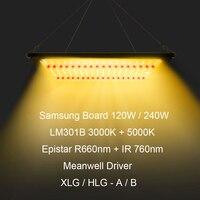 Hydroponics Dimmable 120W 240W Samsung LM301B 3000K 5000K 660nm 760nm QB LED Plant Grow Light Veg Flowering Meanwell Driver