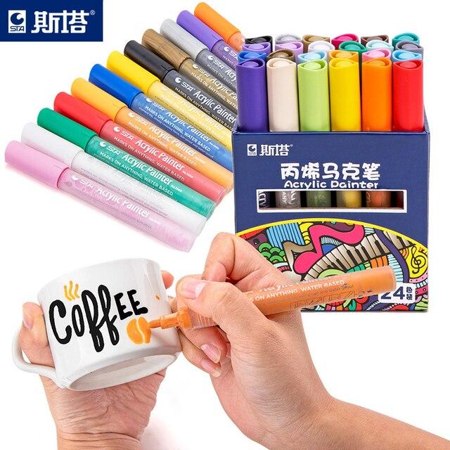 12 24 ألوان/مجموعة STA الاكريليك أقلام تخطيط دائمة للتلوين ل روك السيراميك الزجاج الخزف القدح الخشب قماش قماش اللوحة
