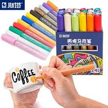 12 24 renkler/Set STA akrilik kalıcı boyalı işaretleme kalemi seramik kaya cam porselen kupa ahşap kumaş tuval boyama