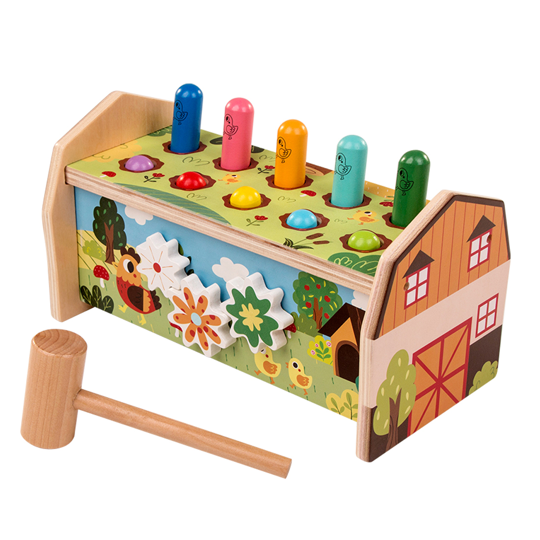 Children Wooden Whac-A-Mole Toy Hammering Toy Multifunctional Educational Toy Christmas Birthday Gift - Forest Type/Ocean Type