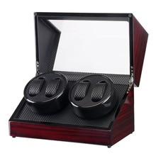 Drewniane pudełko na zegarki Winder Case zegarek samochodowy Winder Shaker przezroczysta osłona zegarek Box Motor US Plug
