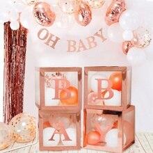 Rose Goud Transparant Brief A-Z Box Custom Baby Naam Ballon Doos Meisje Baby Shower Decoraties Baby 1st Verjaardag Party Decor