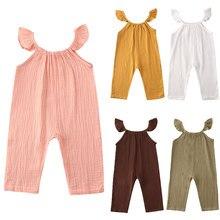 Barboteuse d'été pour bébés filles, vêtements à volants sans manches, combinaison en coton et lin, 6M-3T