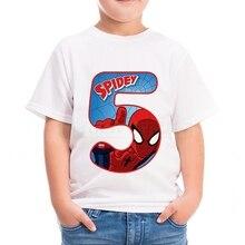 Happy Birthday Numbers Super Hero Cartoon Childrens T-shirt Summer Soft Cotton Boys T Shirt Spider Man Iron Tshirt for Kid