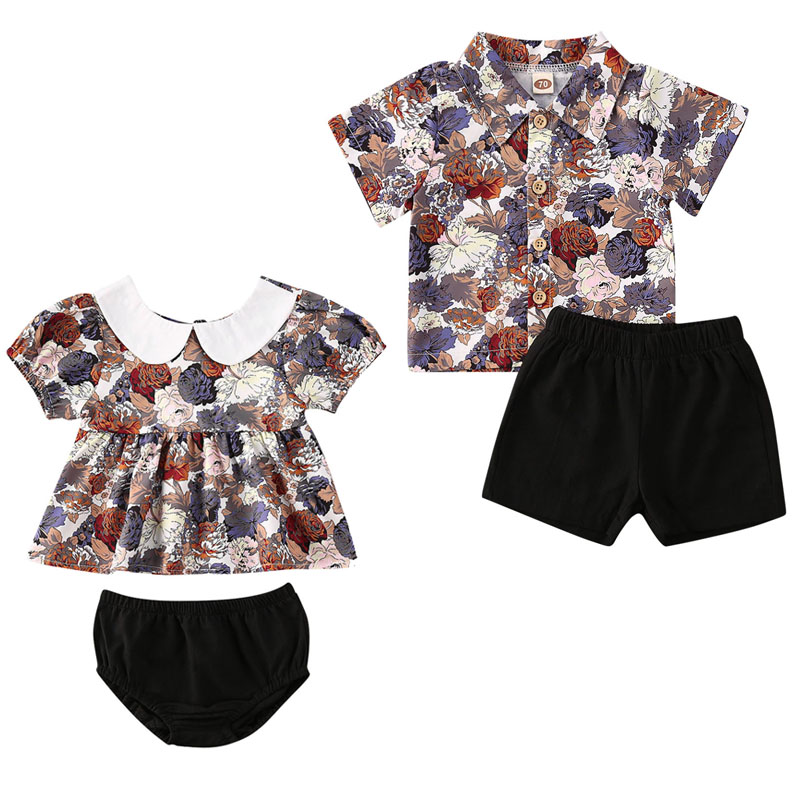 Sister Brother Matching Set Kids Baby Boy Girl Floral Tops Shorts Kids Baby Boy Girl Outfit Clothes