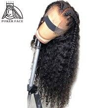 Poker twarz głęboka fala 360 koronki Frontal ludzkich włosów peruki natura kolor brazylijski Remy włosy wstępnie oskubane 10 30 Cal peruka woda fala