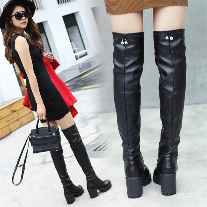 LZJ 2019 noir chaussures femme bottes longues cuissardes talons hauts Botines Mujer Bota Feminina chaussons Martin bottes femmes