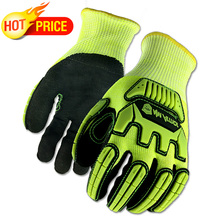 ANSI A5 Anti Vibration Mechanic Cut Resistant Safety Work Glove With Hi Viz Yellow Color Multi Task Function Fashion Gloves.