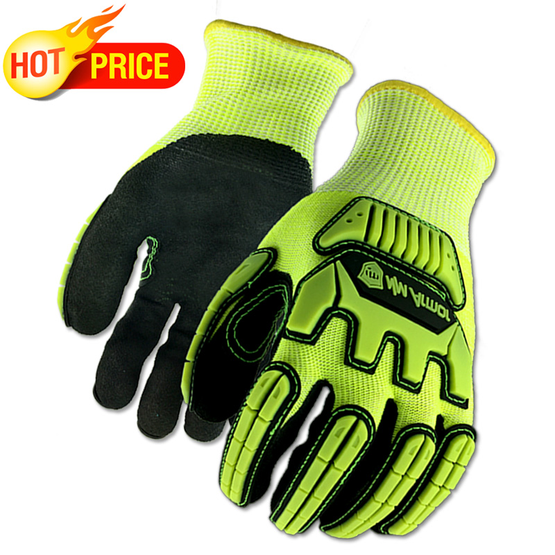 ANSI A5 Anti Vibration Mechanic Cut Resistant Safety Work Glove With Hi-Viz Yellow Color Multi-Task Function Fashion Gloves
