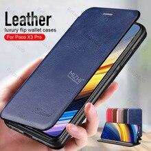 Caso de telefone magnético de couro para xiaomi poco x3 pro capa para poco x 3x3 x3pro pocox3 pro 6.67 wallet wallet carteira suporte capa livro coque