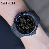 SANDA-Pulsera de cuarzo para hombre, reloj deportivo digital con diseño de cronógrafo multifuncional, impermeable, estilo militar, pantalla LED