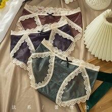 Summer Thin Sexy Underwear Waist Cotton Bottom Comfortable Breathable Translucent Lace Ladies Briefs