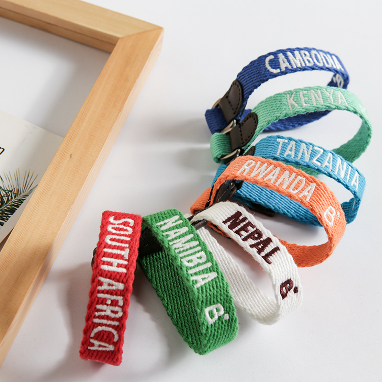 Multi Colors Belt Strap Charity wrap Football team bracelet Cotton canvas letter embroidery men and women bracelet image