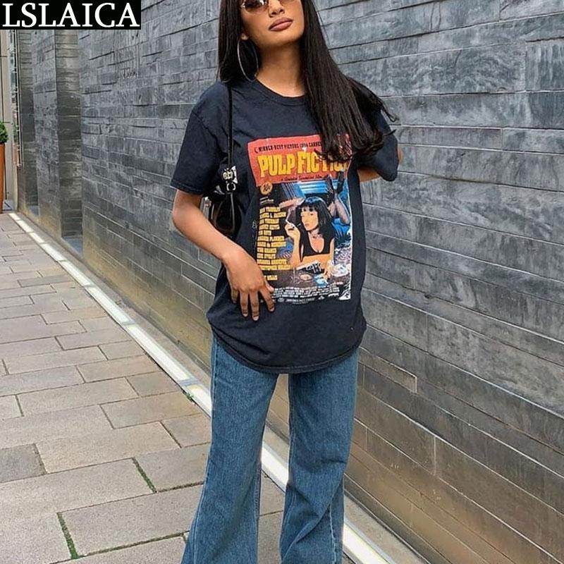 Pulp Fiction Femme camiseta O-pescoço da Cópia Do Vintage Camisa de Grandes Dimensões t Casual Streetwear camiseta de Algodão Para Mulheres Senhoras Da Moda Top