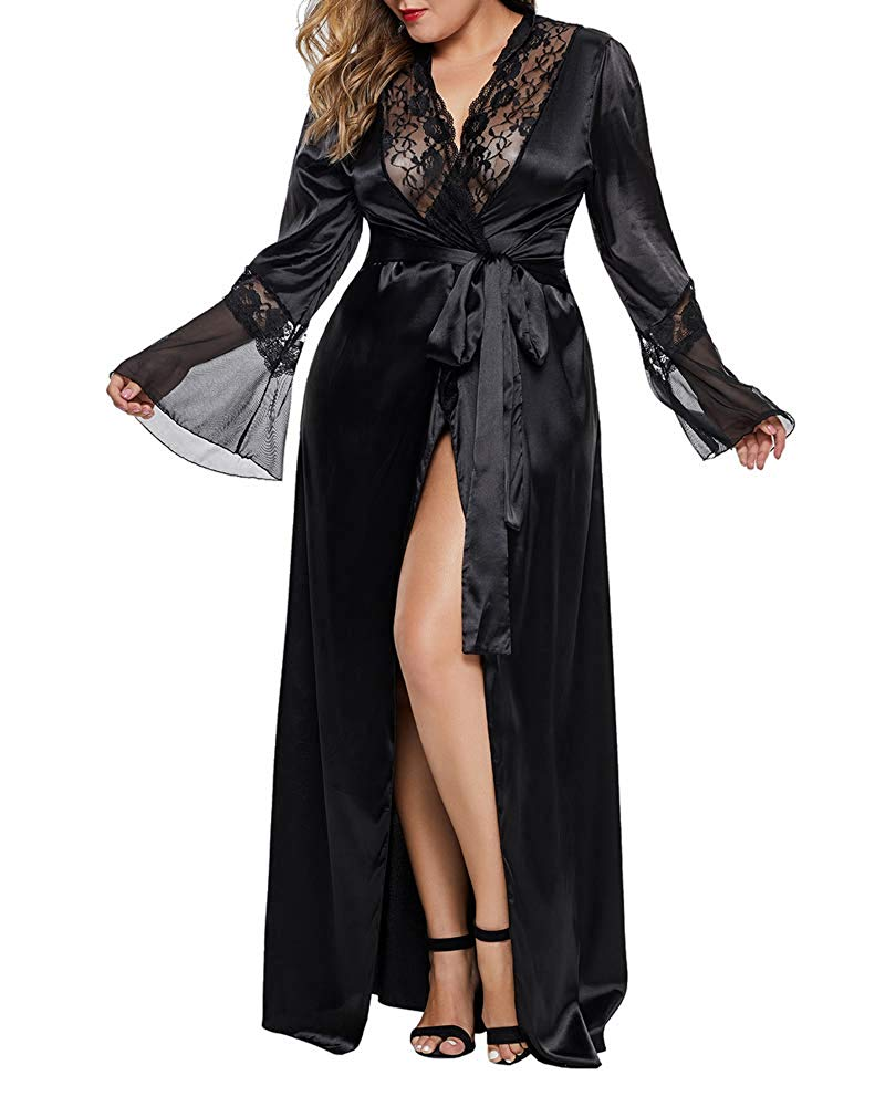 Women's Robe Lace Long Kimono Robes Lightweight Silky Sleepwear V-Neck Calf-Length Bathrobe Women's Lightweight Satin Robe Long