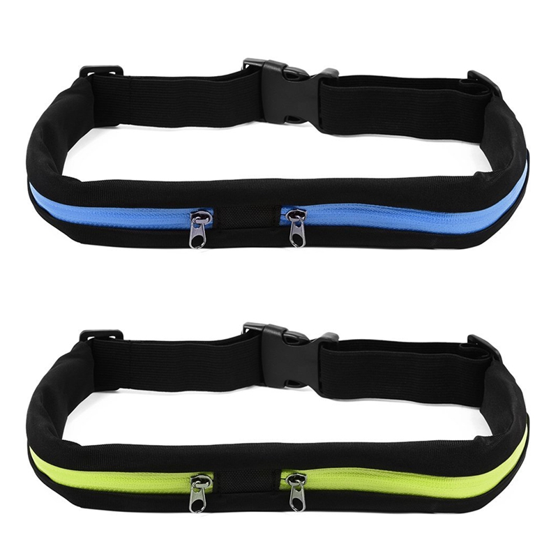 2 Pcs Outdoor Sports Waterproof Bag Flexible Waist Bike Riding Belt Pocket Double Pocket For IPhone Android Phone (Green & Blue)
