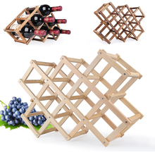 Quality Wine Racks Wooden Wine Bottle Holder 10 Bottle Holder Mount Bar Display Shelf Folding Wood Organizer Wine Racks Men Gift