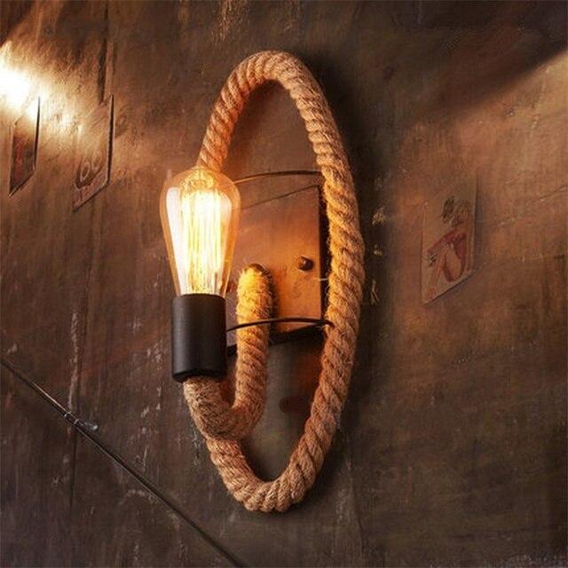 קנבוס חבל לופט סגנון מנורת קיר בציר ברזל תעשייתי המיטה אור רטרו גופי לבית ותאורה בר קפה סלון e27