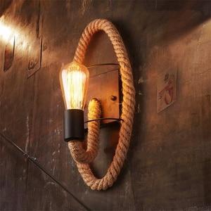 Image 1 - حبل القنب لوفت نمط الجدار مصباح Vintage الحديد الصناعية السرير ضوء تركيبات الرجعية للمنزل الإنارات بار مقهى غرفة المعيشة E27