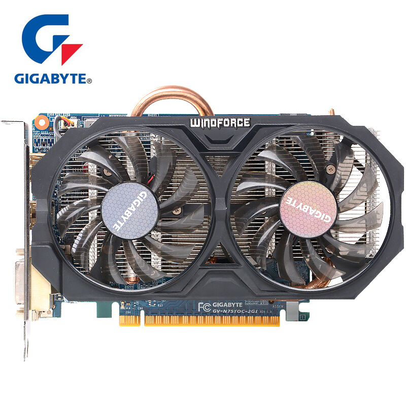 GIGABYTE WINDFORCE 2X Graphics Card GTX 750 Ti Video Card With NVIDIA GeForce Gtx 750 Ti GPU 2GB GDDR5 128 Bitfor PC Used Cards