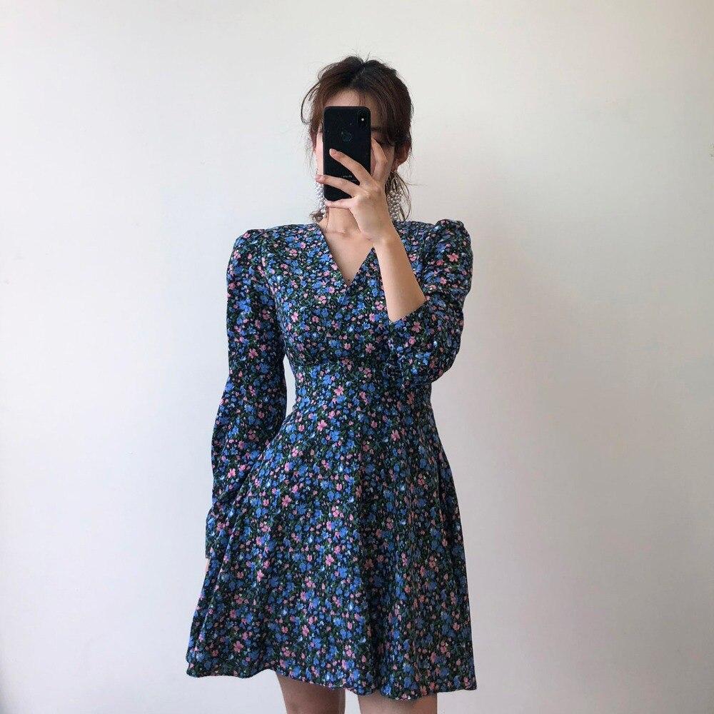 H60656afd50274075a5b84f9e7239a7dfZ - Autumn V-Neck Long Sleeves Floral Print Mini Dress