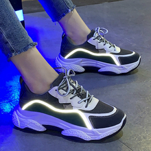 Mlcriyg Reflective Clunky Sneaker Woman Platform Shoes Women Height Breathable Trainers Sports Walking Gilrs Dad