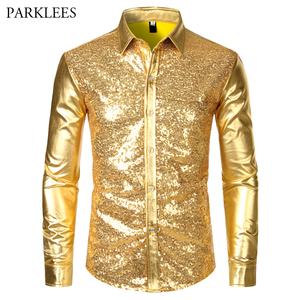 Image 5 - Metallic Silver Mens Stage Shirts Brand Embellished Sequins Shirt Men Social Camisa Masculina Disco Club Costume Chemise Homme
