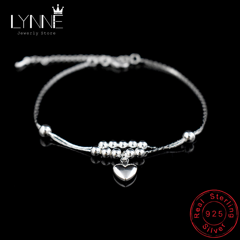 New Fashion Foot Anklet 925 Sterling Ladies Silver Anklets Bracelet Chain For Women Love Heart Pendant Foot Pulseras Jewelry