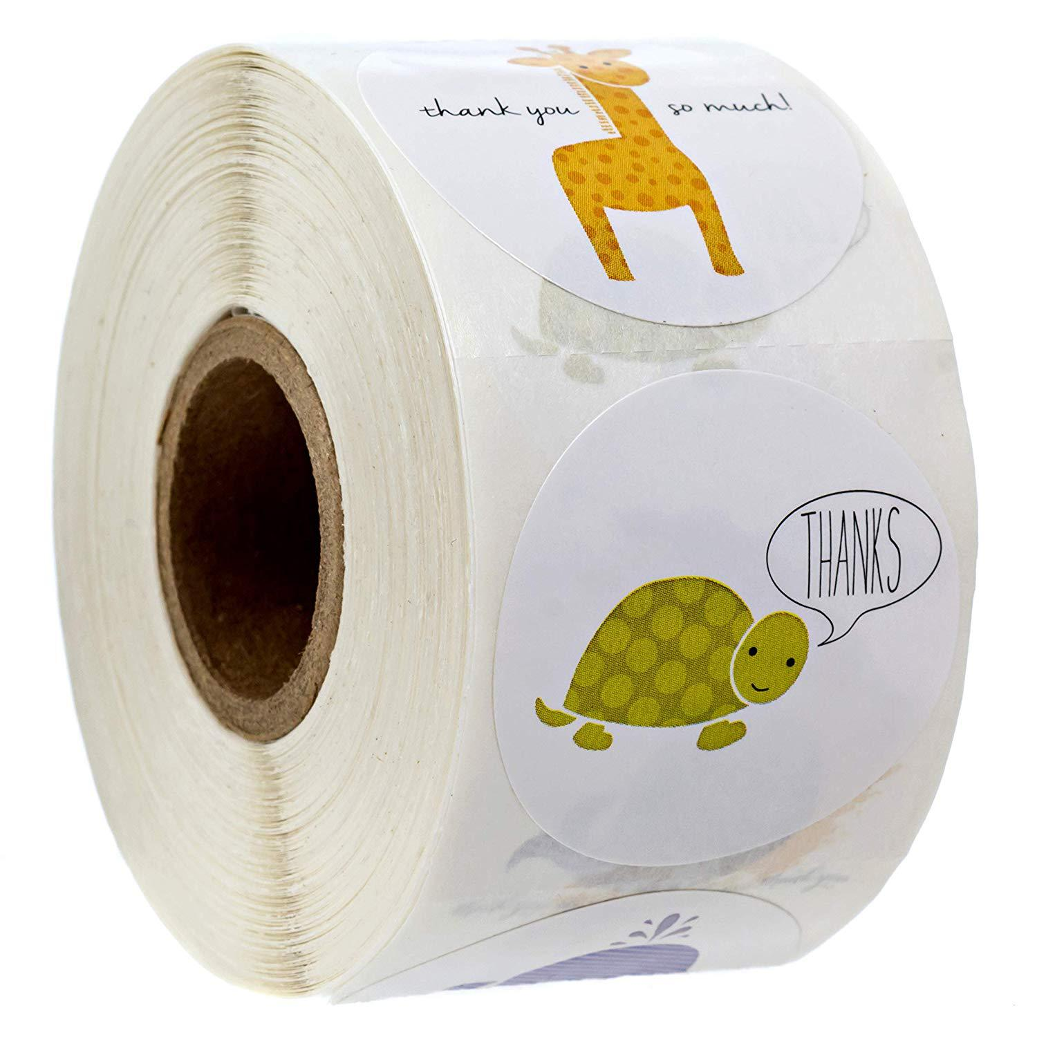 Round Animal Thank You Stickers Seal Labels 500 Labels Per Roll Hand Made With Love Stickers Office Stationery Sticker