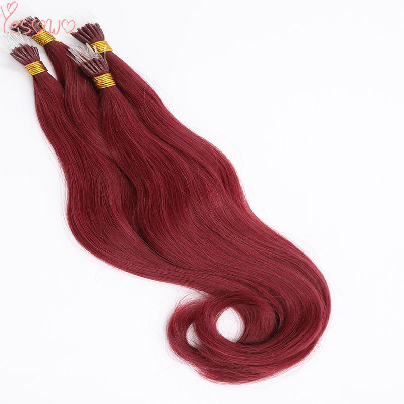 Yesowo Russian Hair 530# Wine Red Cheap 1g/strand Natural Wavy Pre Bonded Fusion Hair Plastic I Tip Hair Extension Human Hair