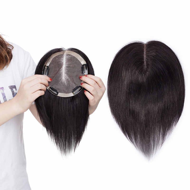 SEGO 15x15cm 스트레이트 모노 기본 머리 토퍼 Toupee 여성을위한 자연 진짜 인간의 헤어 피스 헤어 클립 레미 헤어 가발 밀도 150%