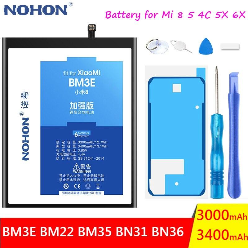 NOHON Phone Battery For Xiaomi Mi 8 5 4C 5X 6X Mi8 Mi5 Mi4C Mi5X Mi6X Replacement BM22 BM35 BN31 BN36 BM3E Mobile Phone Bateria