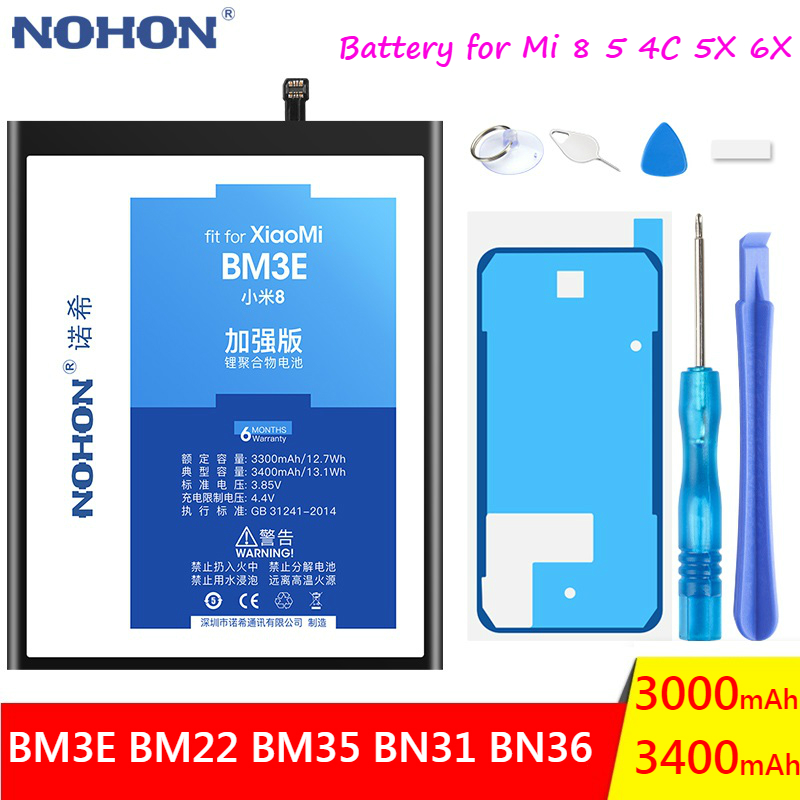 NOHON Phone <font><b>Battery</b></font> For Xiaomi <font><b>Mi</b></font> 8 5 4C 5X <font><b>6X</b></font> Mi8 Mi5 Mi4C Mi5X Mi6X Replacement BM22 BM35 BN31 BN36 BM3E Mobile Phone Bateria image