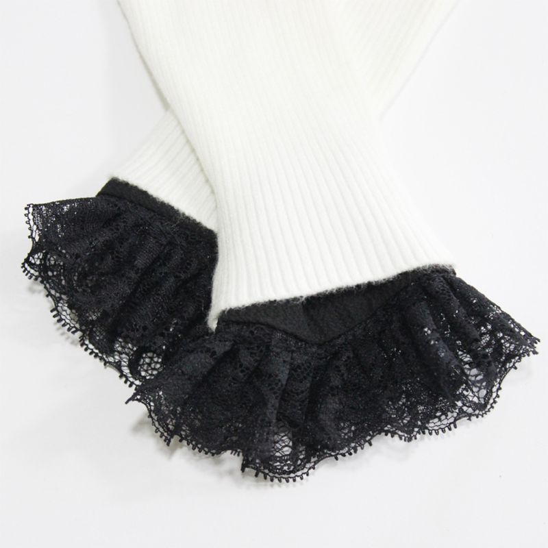 1Pair Women Sweater Decor Chiffon Fake Sleeves Floral Lace Pleated False Cuffs LX9E