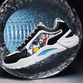 Brand Men Fashion Shoes Casual Men Shoes Men Chunky Sneakers Black Breathable Shoes 2020 Male Sneakers Zapatillas Hombre fashion colorful platform men casual shoes breathable men designer shoes hip hop luxury brand couple sneakers men zapatos hombre
