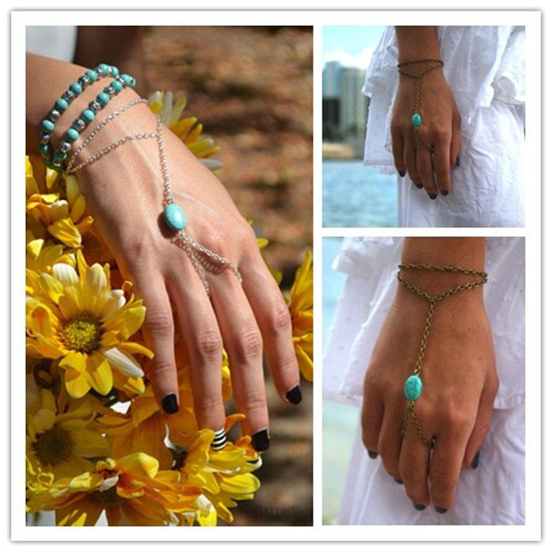Boho Ladies Chain <font><b>Bracelet</b></font> Bangle Slave Chain Link Finger <font><b>Rings</b></font> Hand Harness For Women Jewelry image