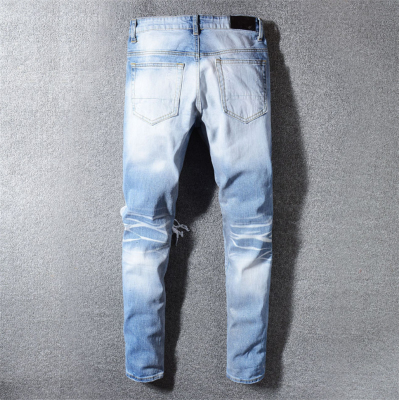 Free shipping streetwear hip hop Ripped Skinny biker jeans destroyed Stretch cotton denim trousers Plus Size 40 hot Dropshipping in Jeans from Men 39 s Clothing
