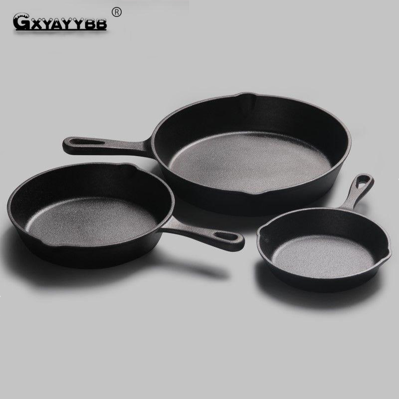 16cm 20 Cm Black Mini Not Sticky Casting Iron Pan Stone Layer Frying Pot Saucepan Small Fried Egg Use Gas & Induction Cooker