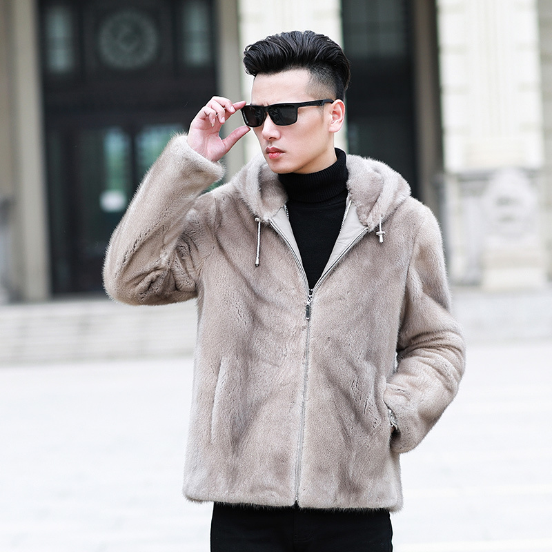 Real Fur Coat Men Winter Natural Mink Fur Coats Hooded Mens Mink Jackets Slim Fashion Luxury Jacket Overcoat 95001