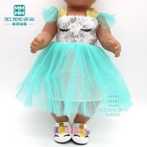 Image 5 - 服のスパンコールドレスシューズフィット43 45センチメートルベビー玩具新生児人形とアメリカの人形のアクセサリー女の子のギフト