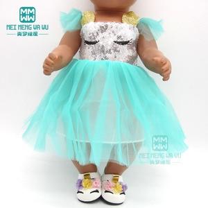 Image 5 - בגדי בובת שמלת פאייטים נעלי fit 43 45cm תינוק צעצוע חדש נולד בובת ואמריקאי בובת אבזרים ילדה של מתנה