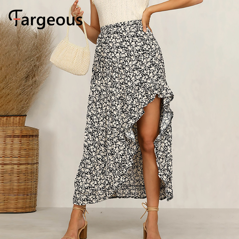 Faregous Vintage Floral Print Ruffle Long Skirt Female 2020 Summmer Spring Hig Waist Holiday Skirts Ladies Elegant Party Skirts
