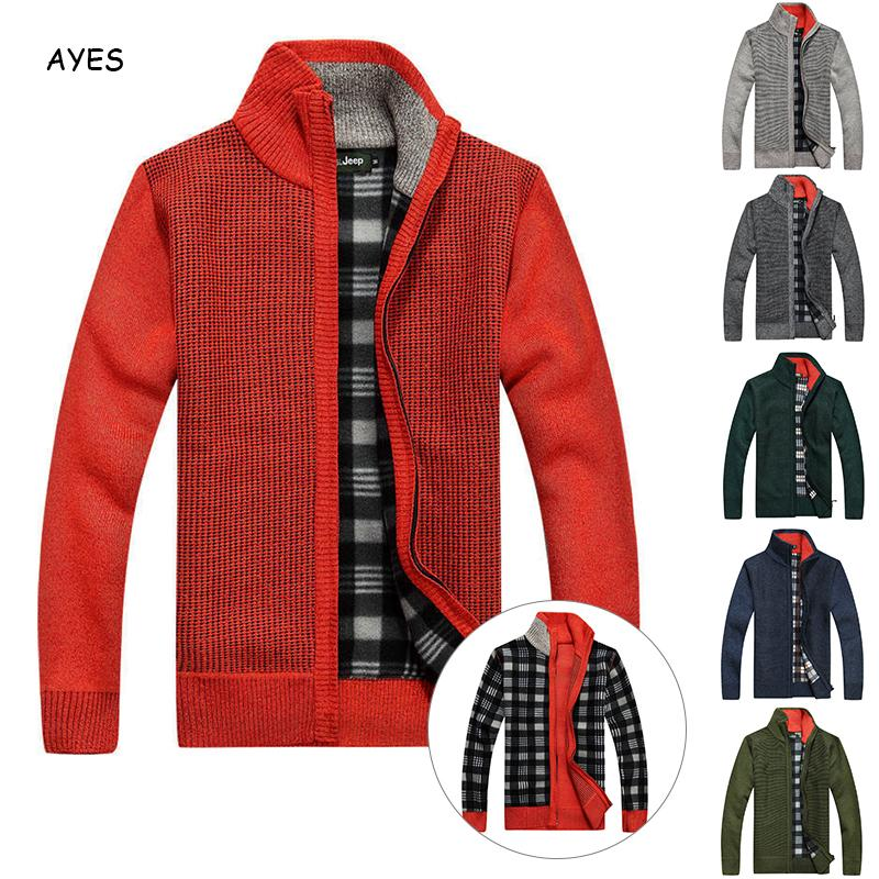 2019 Autumn Sweater Coat Man Long Sleeve Zipped Stand Collar Double Side Wear Solid Plaid Winter Warm  Sweater Jacket Male