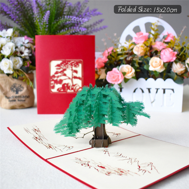3D Pop UP Cards Flowers Birthday Card Anniversary Gifts Postcard Unicorn Maple Cherry Tree Wedding Invitations Greeting Cards