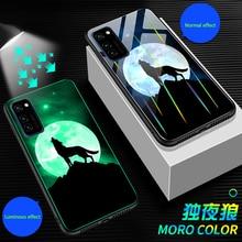 Aurora Luminous Phone Case For Huawei Honor View V30 V20 V10 Night Shine Bcak Cover For Honor V30 dazzle colour glass Case Coque aurora luminous phone case for huawei honor view v30 v20 v10 night shine bcak cover for honor v30 dazzle colour glass case coque