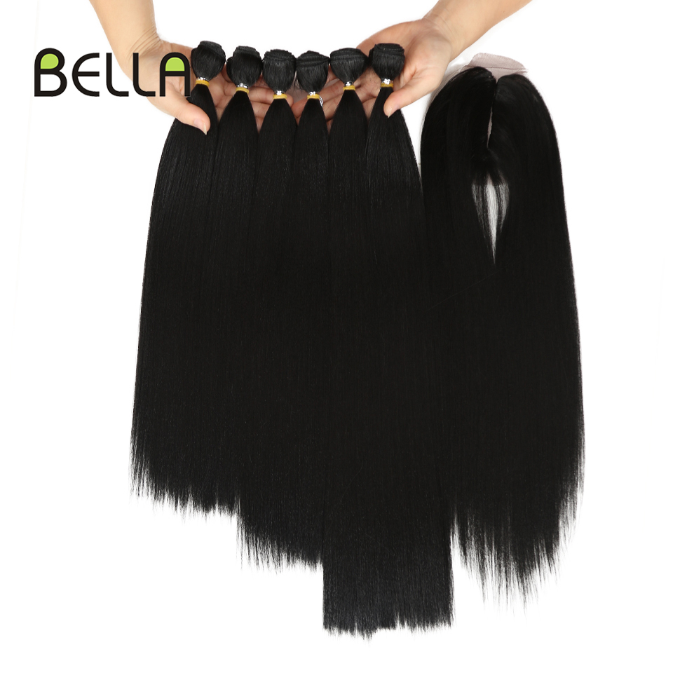 Bella Yaki Straight Hair Bundles 7Pcs/Pack 16-20inch Ombre 613# 4Colors Synthetic Hair