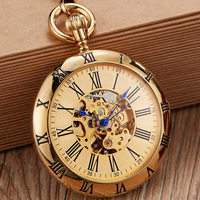 Full Copper Automatic Mechanical Pocket Watches Men Women Gold Skeleton Steampunk Self winding Fob Watch Chain Pendant Reloj