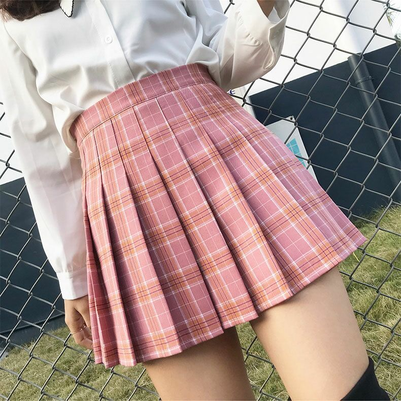 Plaid Pleated Skirt Schoolgirl 2020 Half-body Dress Short Skirt Season High Waist Lattice Black A A-line Skirt Mini A-line